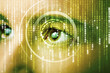 canvas print picture - Modern cyber woman with matrix eye