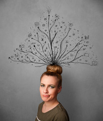 Young woman with tangled lines coming out of her head