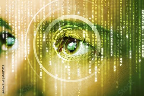 canvas print picture Modern cyber woman with matrix eye