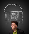 Businessman with thundercloud above his head