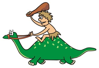 Dinosaur and prehistoric man