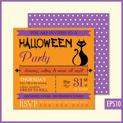 Halloween Invitation Orange Black Cat
