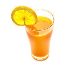 Fresh orange juice and slice of orange top view on white backgro