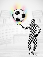 man in full body suit holdig soccer ball