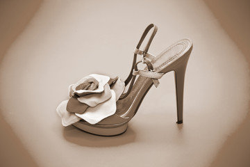 Women shoes with high heels, photo toning in sepia