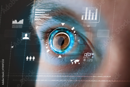 Future woman with cyber technology eye panel concept - 70147232