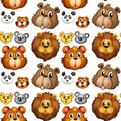 Seamless animal heads