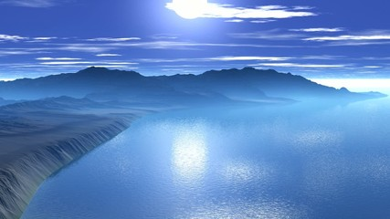 Sunrise over the sea cliffs