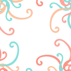 Frame from curls vector colorful