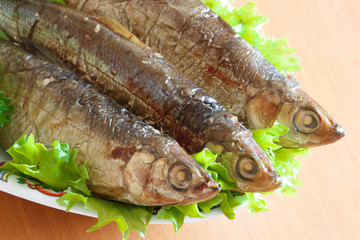 Vendace smoked to perfection and served with salad and parsley