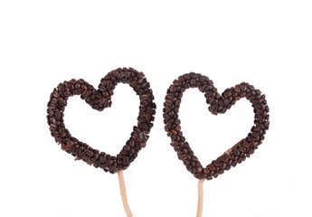 Handmade hearts from coffee beans.