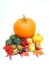 Erntedankfest, Kürbis- und Obstdekoration, freigestellt