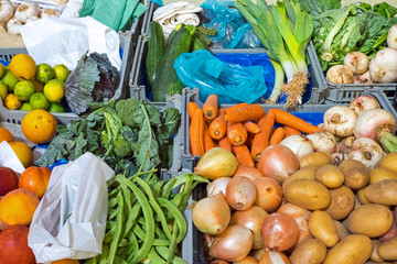 Colourful vegetables at a market