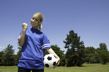 female soccer player on the field