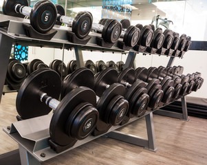 Weights, close up many size of black dumbbell in fitness room