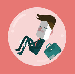 Businessman sleep in comfort zone balloon. flat vector