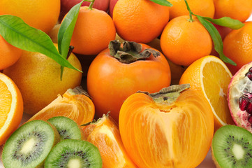 collection fruits background