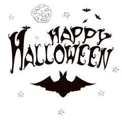 Vector Happy Halloween banner  with  spider shape frame.