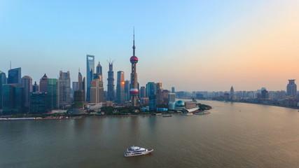 China Shanghai Huangpu River at Sunset, Timelapse.