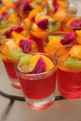 fruit jelly in glass