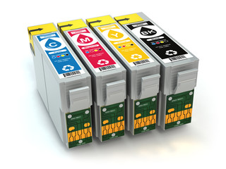 Cartridges for colour inkjet printer. CMYK.