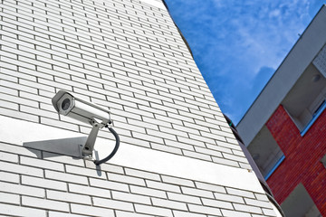 Security camera on the wall as Private property protection.