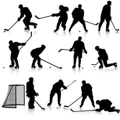 Set of silhouettes of hockey player. Isolated on white. illustra