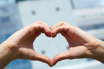 woman hand in heart