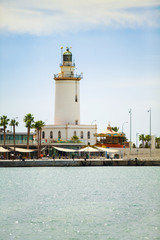Lighthouse at Malaga's port. Andalusia.