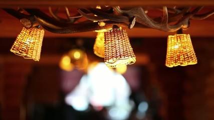 Rustic natural restaurant lamp interior with deer antler
