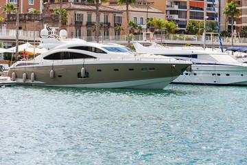 Luxury boat docked at port