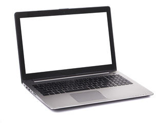 Laptop with white blank screen.