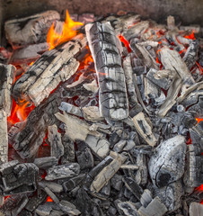 Red hot burning charcoal.