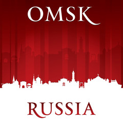 Omsk Russia city skyline silhouette red background