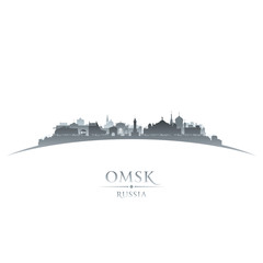 Omsk Russia city skyline silhouette white background