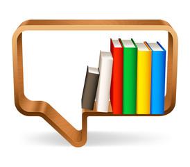 Wooden bookshelf in a shape of speech bubble.