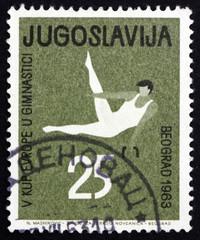 Postage stamp Yugoslavia 1963 Gymnastic Position, Pommel Horse