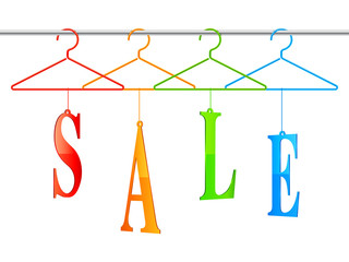 Color clothing hangers with sale word.