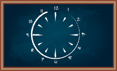 Clock sign on chalkboard