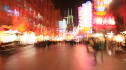 Walking Through Shopping Street in Shanghai, Time Lapse