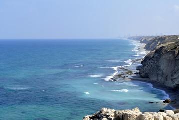 Long coastline at Mediterranean seaside near Tel-Aviv