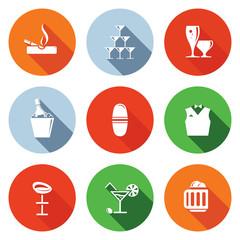 Bar flat icons set