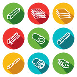 Metallurgy products flat icons collection poster