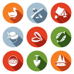 Color hunting and fishing flat icon set
