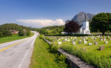 Norwegian church in beautiful natural scenery