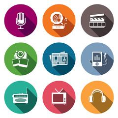 Media flat icon set - video, news, music, TV, recording, photo