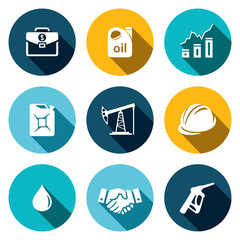 Petroleum industry flat icon collection