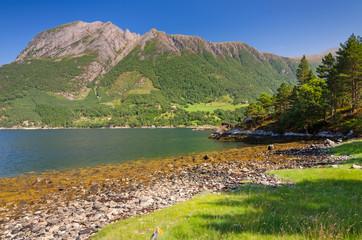 Norwegian sea fjord under the mountain