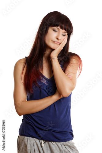 canvas print picture junge Frau ist stark gelangweilt