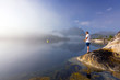 Fishing in Norwegian foggy scenery